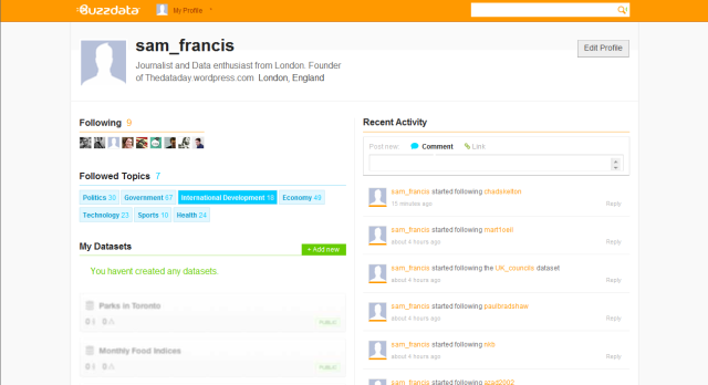 Picture of Buzz Data Profile page with Orange Header showing features similar to Twitter and Facebook