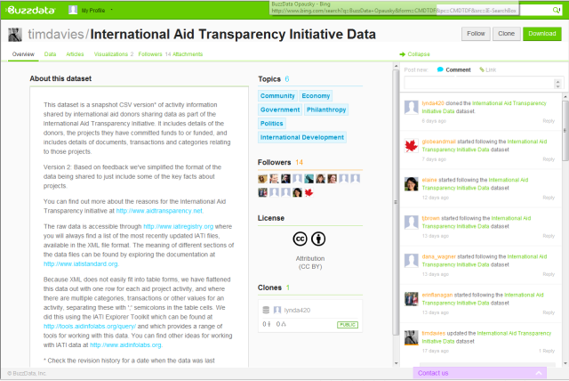 Screengrab from Buzz Data's data page showing a brief desciption of selected data on international voluntary aid witha green banner at the top of the screen